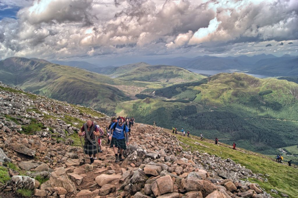 The walk up Ben Nevis offers panoramic views over the valleys below.
