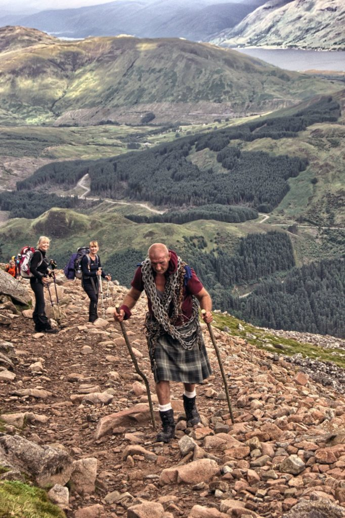 Astonished walkers look on as Davy undertakes his gruelling challenge.