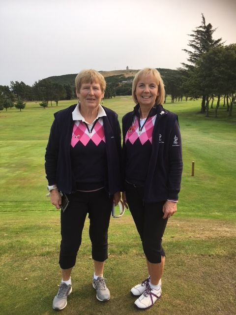 Fiona  Henderson and Alice Anderson representing the Arran SWI Federation at Duff House Royal golf course in Banff in the National Golf  finals .