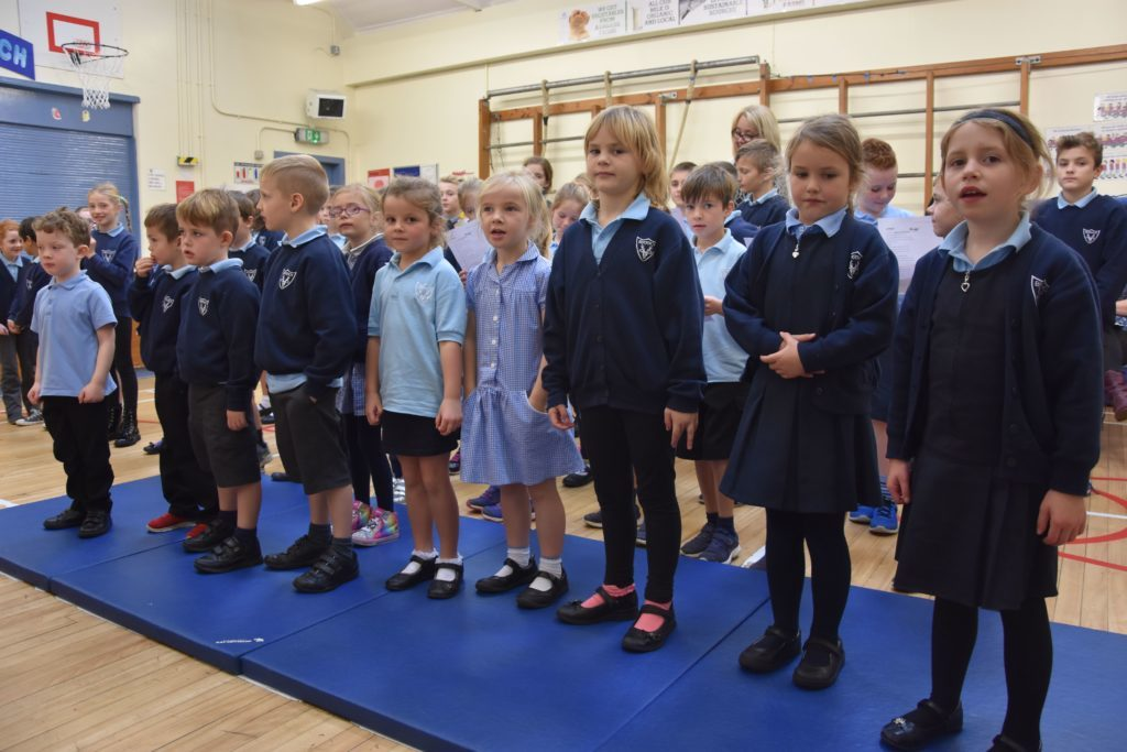 Brodick Primary pupils prepare for another fun singing activity.