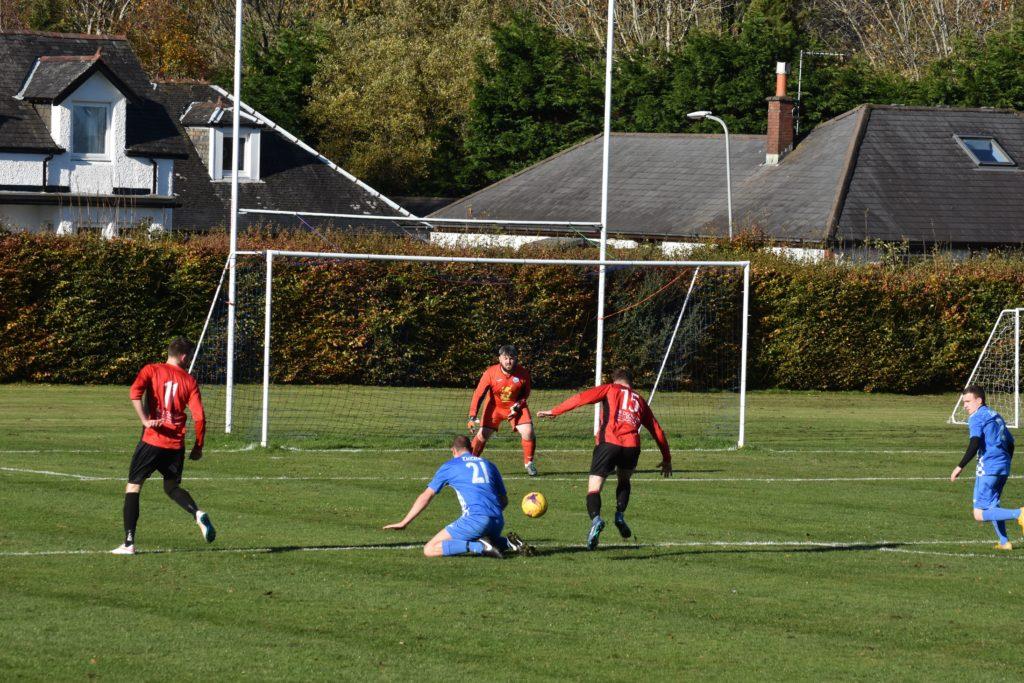 Fraser Gilbert bears down on the Killie goal.