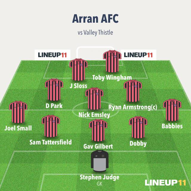 The Arran line-up in the game against Valley Thistle.