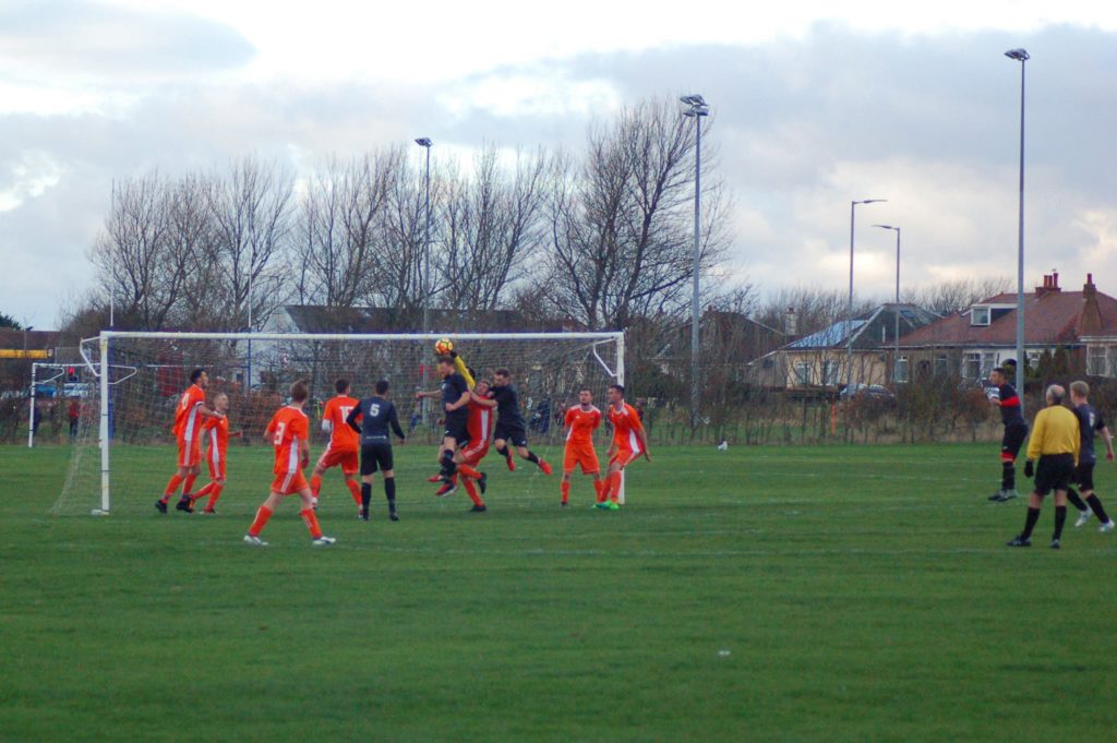 A Galston attempt at goal is blocked by keeper David Heenan.