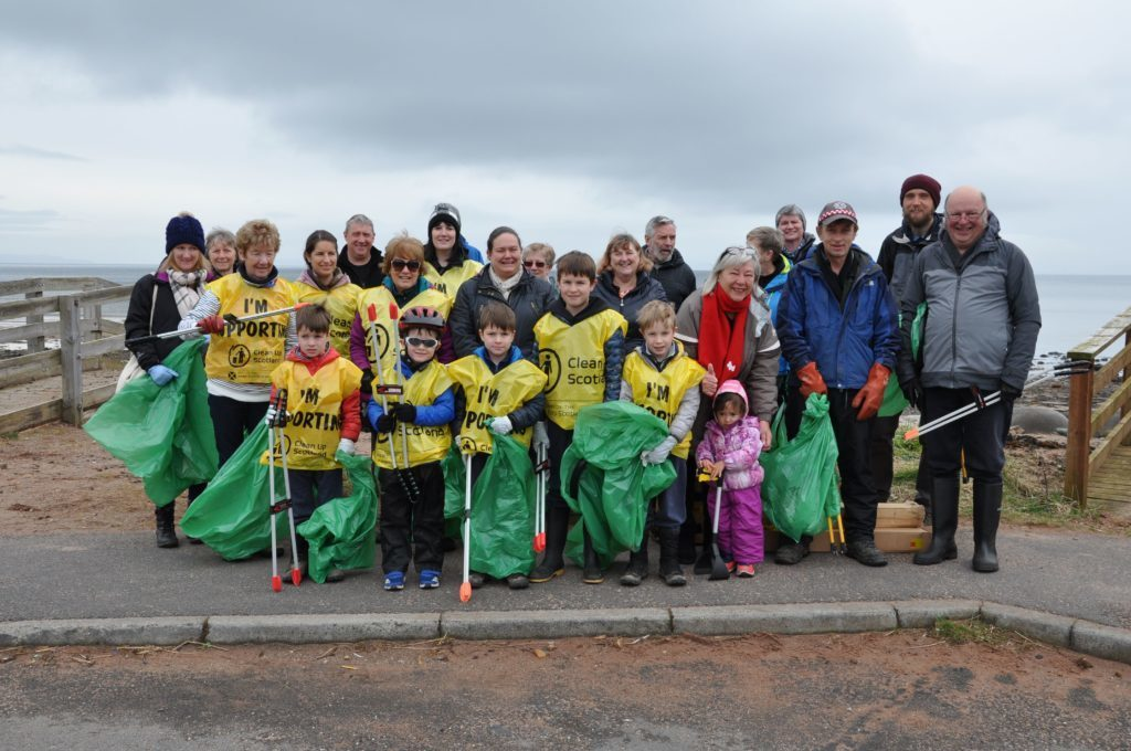APRIL - A selection of the 55 volunteers of all ages who cleaned up Brodick Beach and Fisherman's Walk in a huge beach clean that left the area looking pristine.