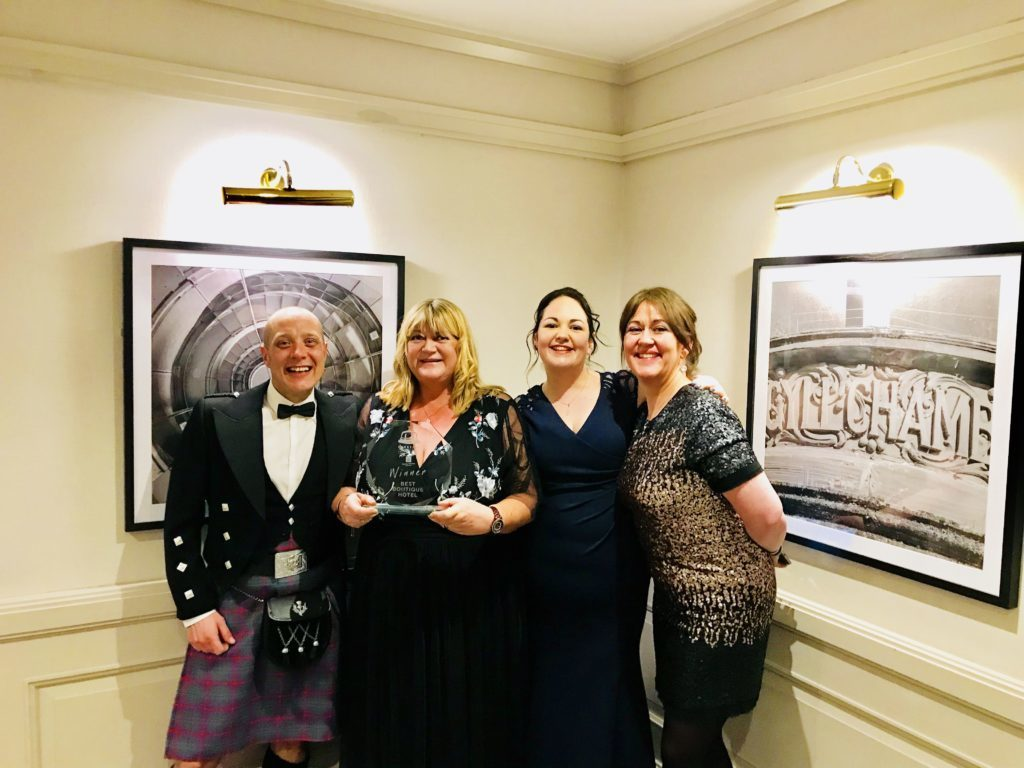 FEBRUARY - Craig Lindsay, Kate Russell, Carolyn Lambert and Sharon Bell collected the Boutique Hotel of the Year award on behalf of the Douglas Hotel.