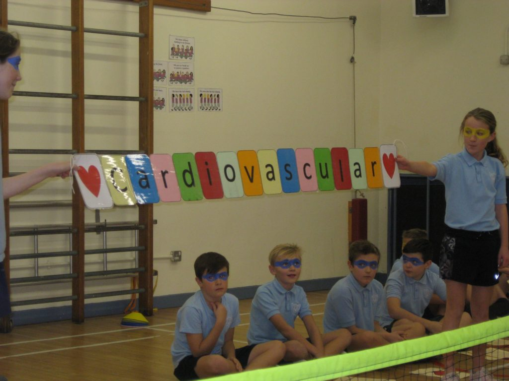 Pupils use banners and props during their presentation.
