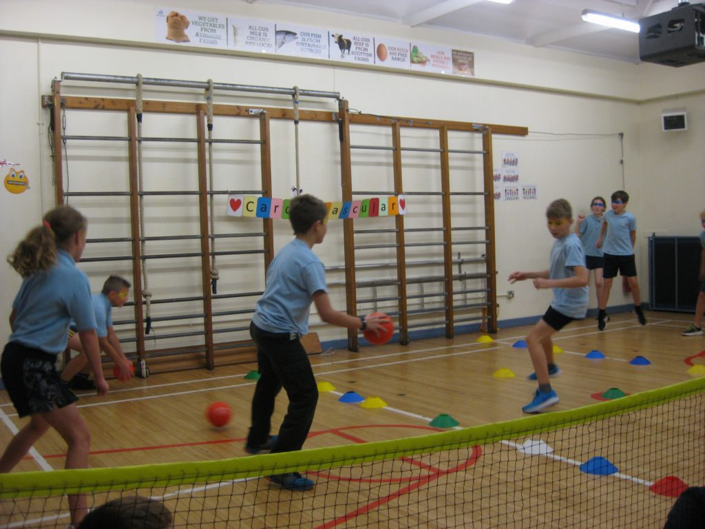 Pupils put their newly learned dodgeball skills to the test.