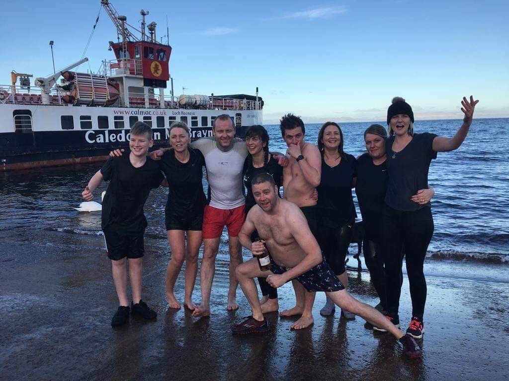Known as the Lochranza Loonies, these dookers took part in the second annual dook this year.