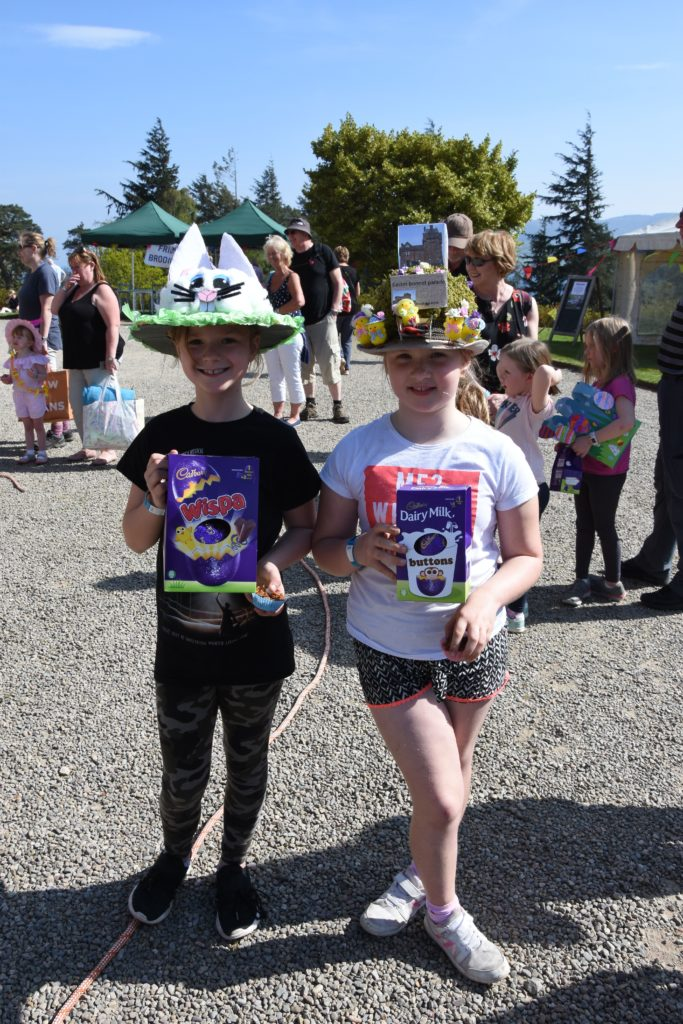 Cousins Emily Gee of Wales and Alice Holmes from Manchester took first and second places in the Easter bonnet competition for seven to 12-year olds.