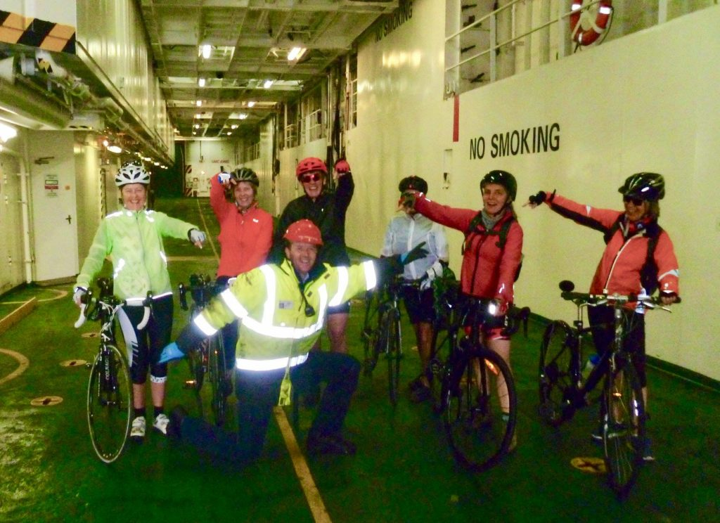 The Belles share a laugh with CalMac staff .