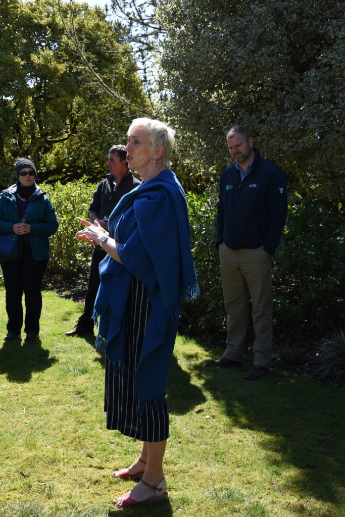 Executive director of VisitArran, Sheila Gilmore, addressed the visitors and offered high praise for the quality of the work at Brodick Castle.