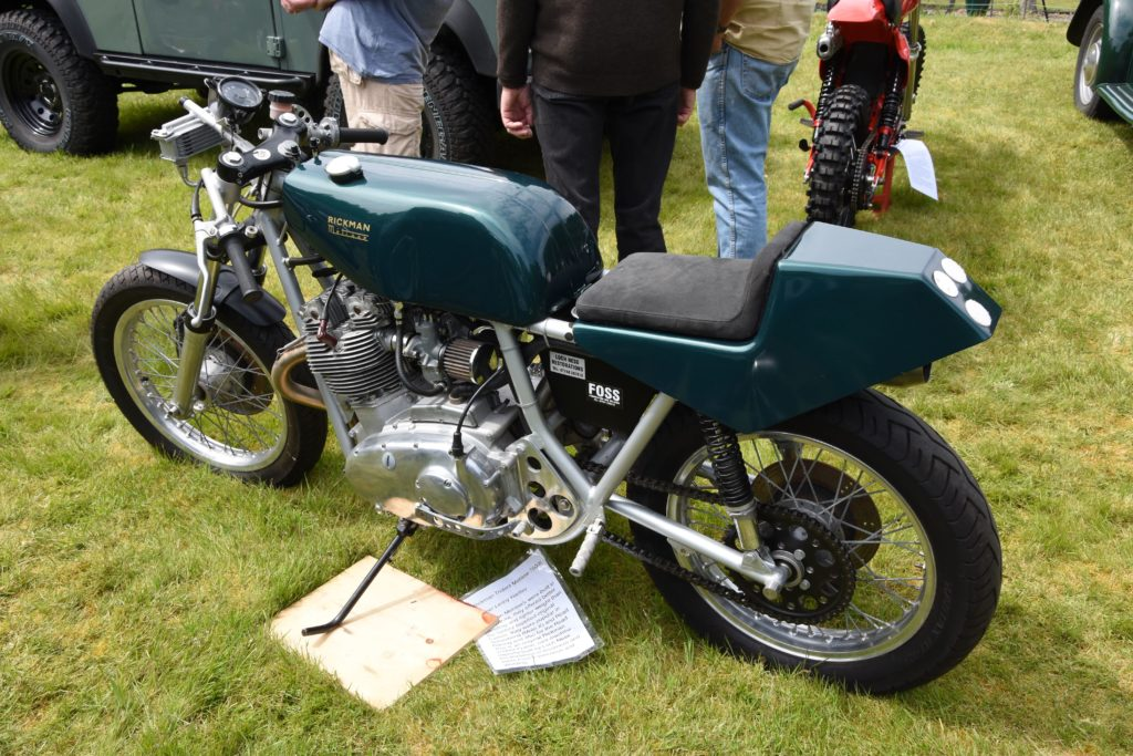 A rare racing machine, a Rickman Trident Metisse 750cc owned by Lenny Hartley.
