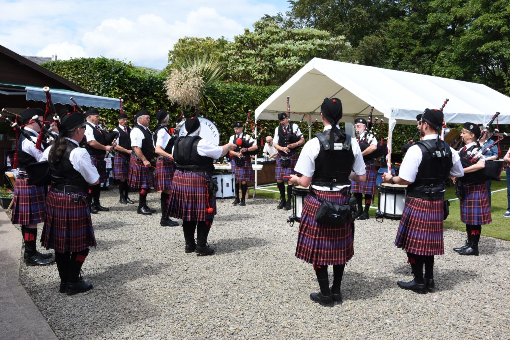 Always a huge attraction, the Arran Pipe Band perform at the show.