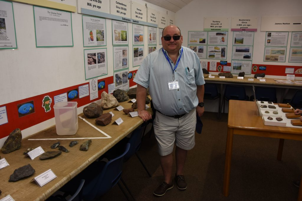 Geologist Gordon Macleod who helped to set up the Geology department showed visitors around the geology exhibits.