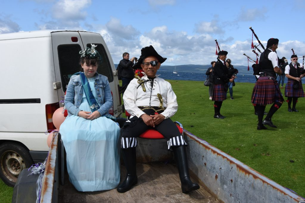Lochranza Bay Queen Catherine Logan is joined by her pirate protector Anthony Baboolal.