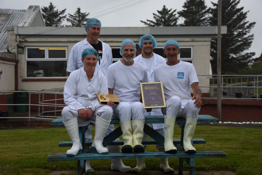 The last team at Torrylinn Creamery, Allan Nicol, Richard Scott, Stewart Kilpatrick, Philip Ward and Lisa Edwards, who won a Scotland Food and Drink excellence award in May this year.