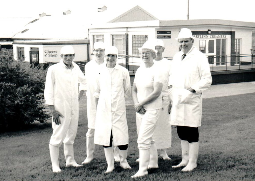 Torrylinn staff: George McIver, Alistair McIver, Wendy Birch, Margaret McIver, George Hotchkiss and Neil McLean pictured in August 1992 after the upgrading of the premises.