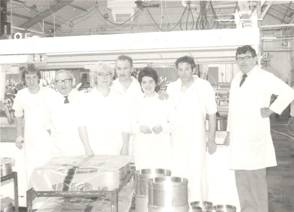 October 1985: the seven man crew at Torrylinn are, John Allan, Drew McHarg, Margaret McIver, George Hotchkiss, Margaret McBain, George McIver and Neil McLean.