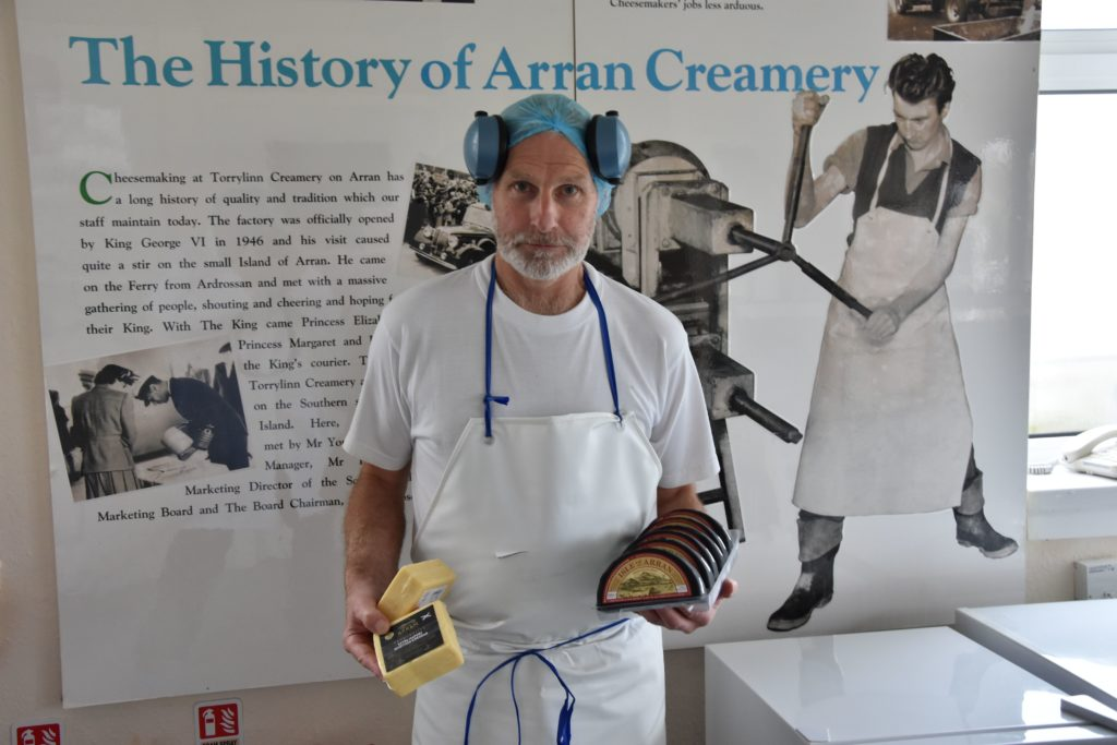 Head cheese maker Allan Nicol with some of the cheese products produced at Torrylinn before it shut.