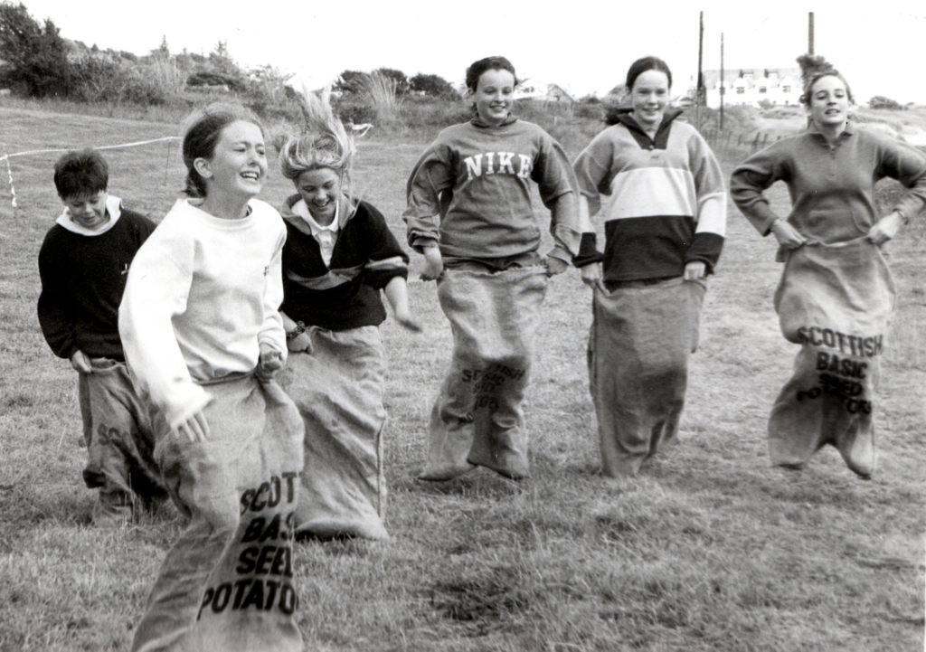 Showing no lack of energy or enthusiasm, these sack racing girls also took part in a number of other fun events during the Kildonan Fun Week.