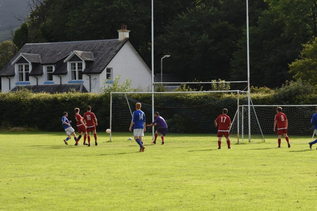 Returning player Archie McNicol scores the first of his three goals.