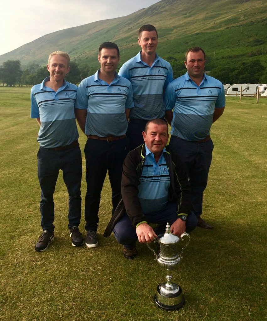 Winners of the AGA Hope Cup for 2019 were Ewan McKinnon, Greg McCrae, Matt Keir and Gordon Hendry of Brodick Golf Club. They are pictured with team captain Sid Sillars and the trophy.