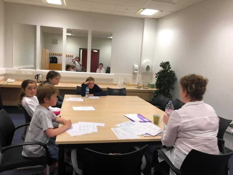 Mairi MacInnes teaches pupils Gaelic singing.