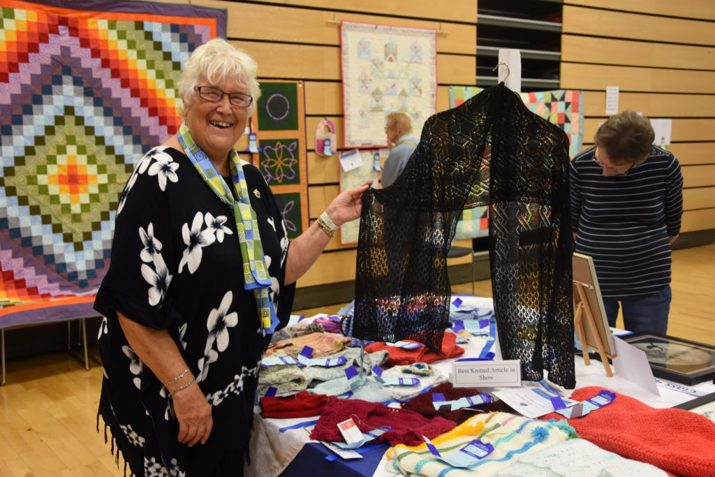 Jenny Harper won the best knitted article in show with her finely detailed shawl.