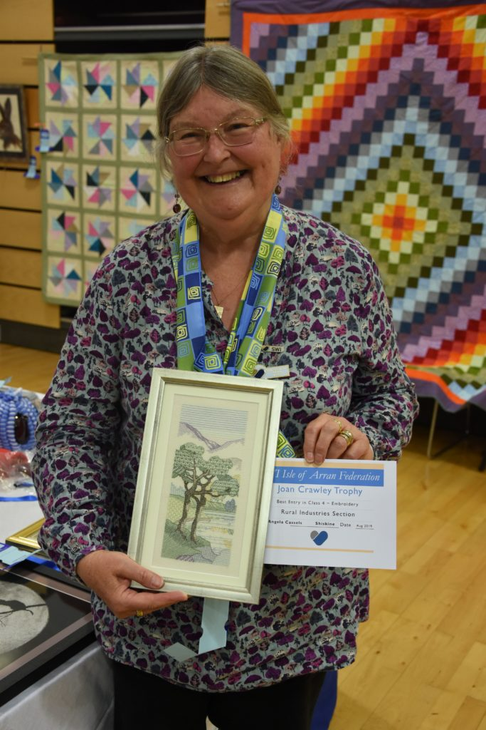 Angela Cassels won the Joan Crawley Trophy for her embroidery work.