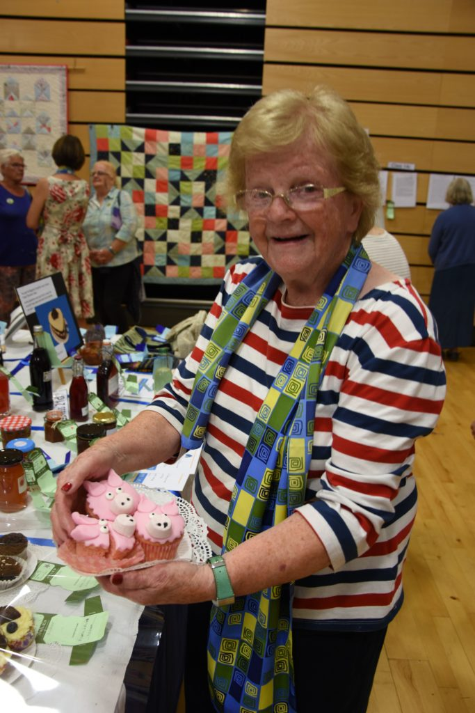 Elma Stevenson of Corrie and Sannox SWI won a gold award  for her three little pig cupcakes.