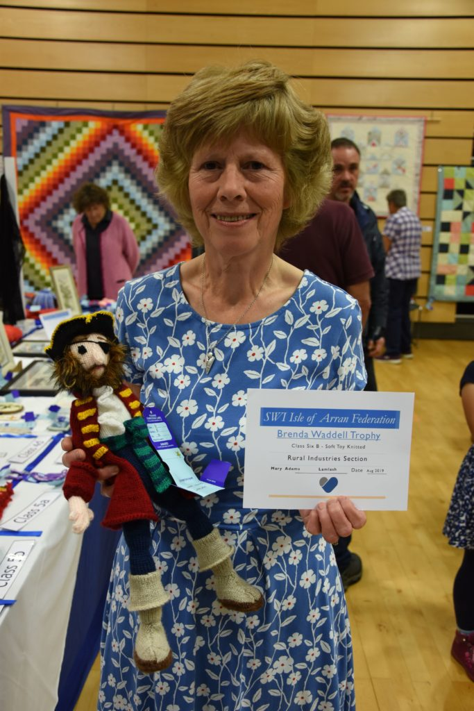 Mary Adams received the Brenda Waddell Trophy for her pirate soft toy which she knitted.