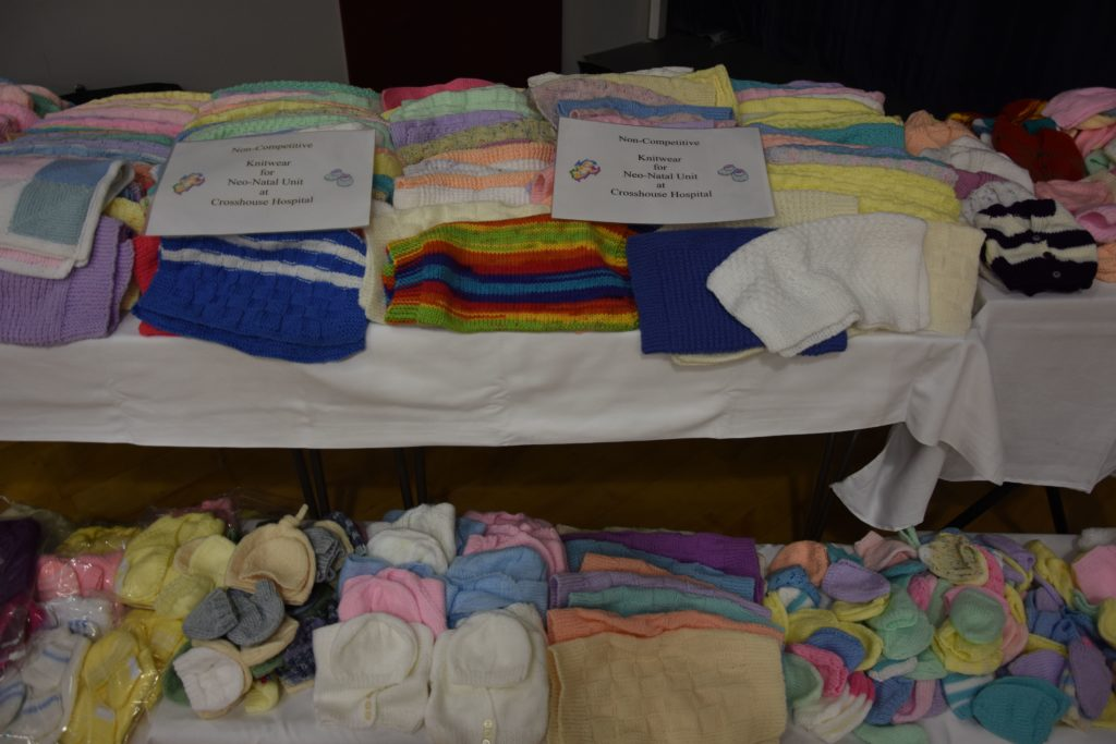 SWI members from all of the institutes on Arran contributed to an enormous donation of knitted baby wear that will be donated to the Neo-Natal Unit at Crosshouse Hospital.