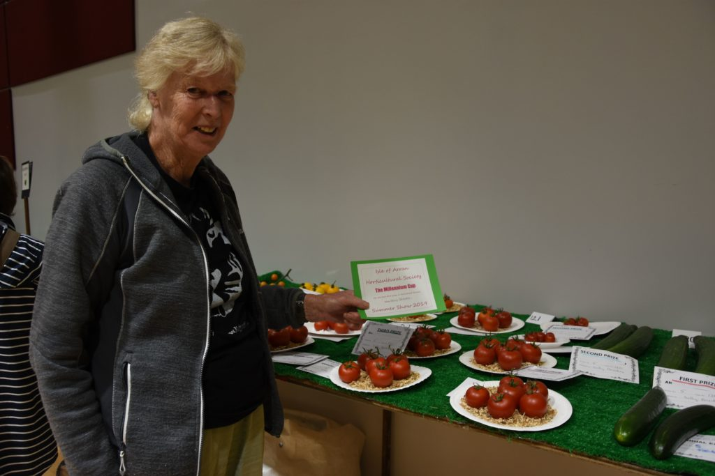 Sally Brookes took the Millennium Cup for the most first prizes in the horticultural section, including the tomatoes category which is fiercely contested.