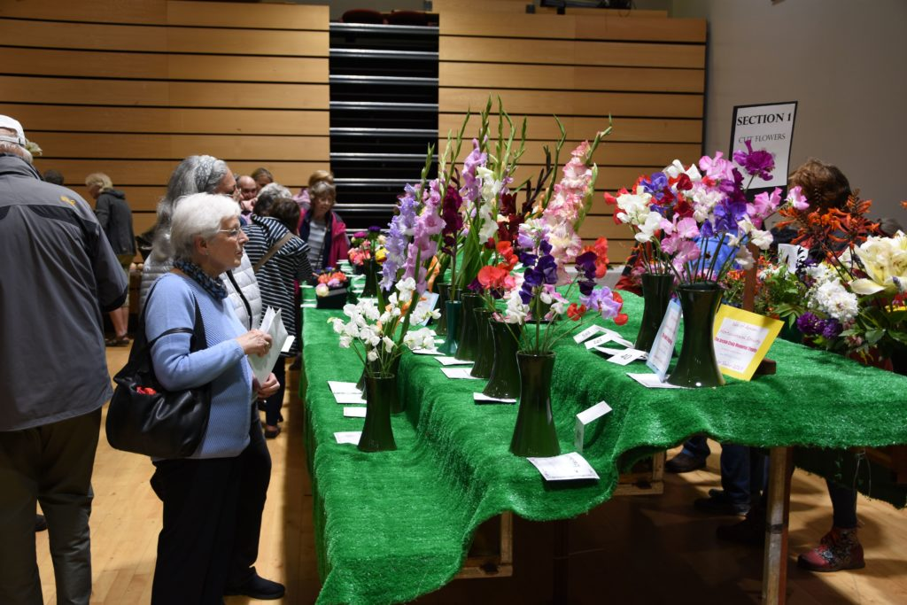 Visitors browse the cut flower section.