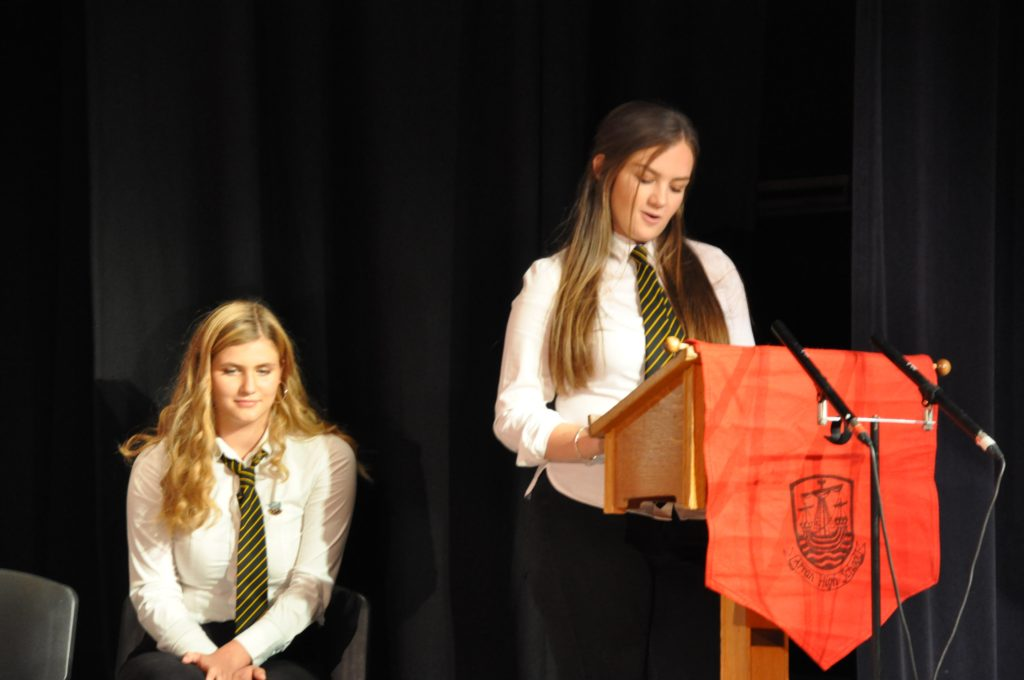 Captain Elyse Aitken spoke from the heard in her address to the audience.