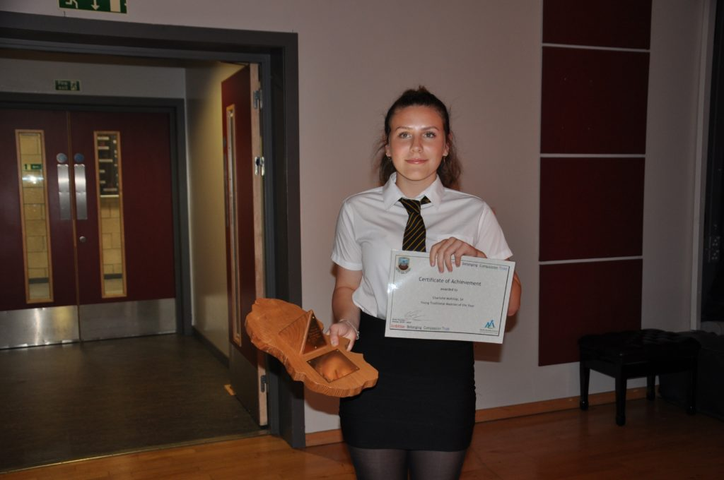 Charlotte McKillop is the young traditional musician of the year.
