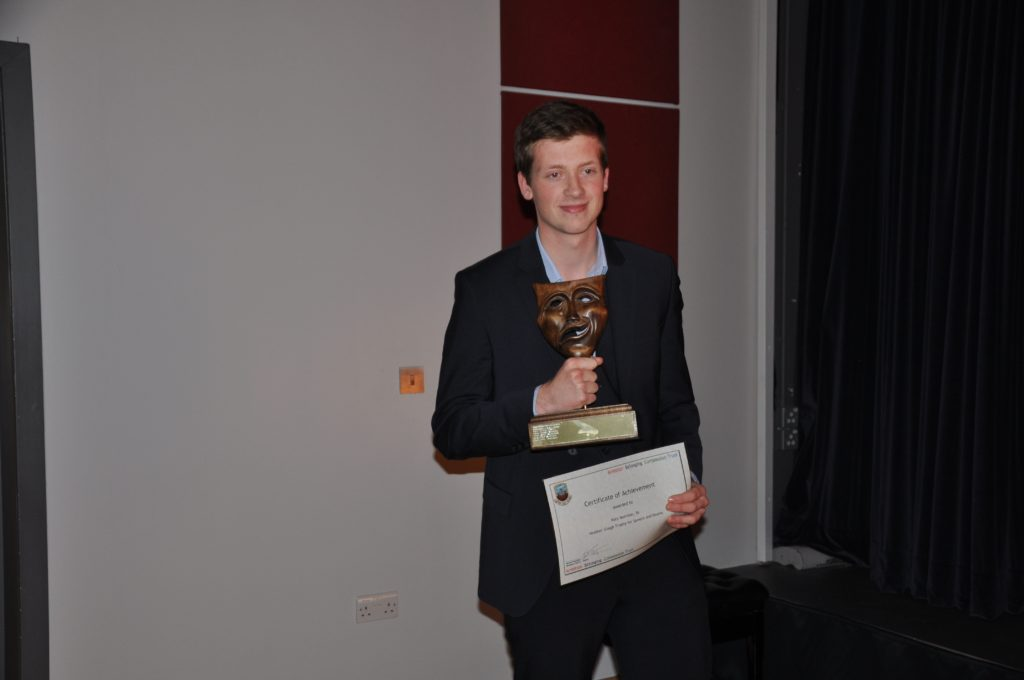 Rory Morrison with the Heather Gough Award for speech and drama.