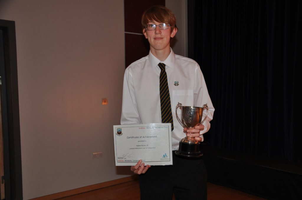 Robbie Milton was the joint winner of the Lamlash Millenium Cup for Citizenship with Tayor Craig (not pictured).
