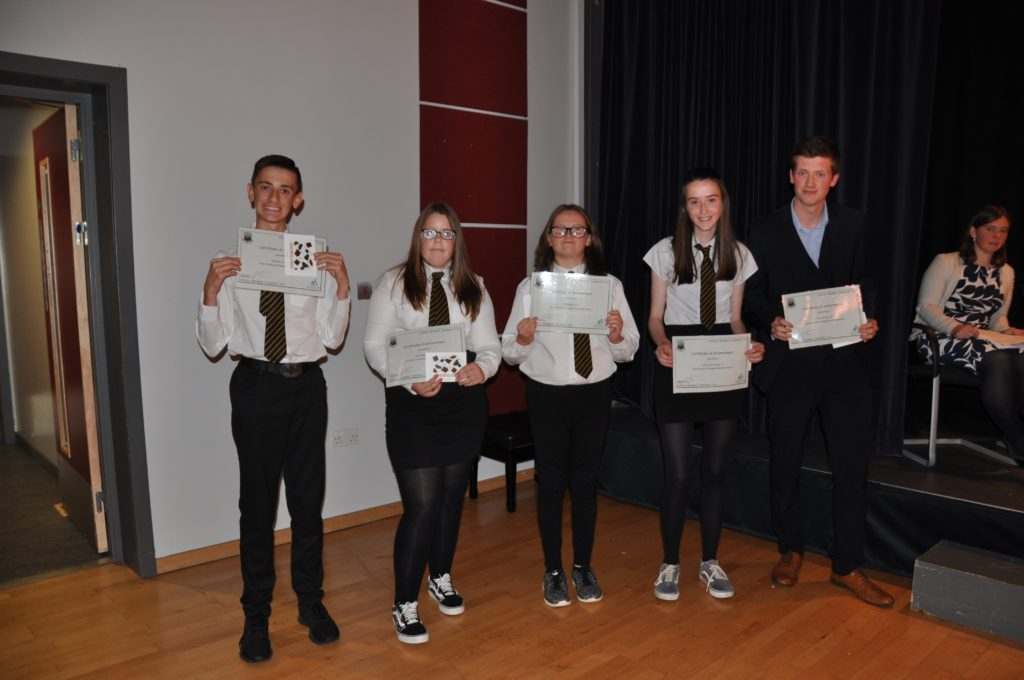 The Arran Society of Glasgow Endeavour Award was presented to: Bandon Owens S1, Anna Wilkinson S2, Cerys Herapath S3 (not pictured), Mia Walker S4, Hannah McCartney S5 and Rory Morrison S6.