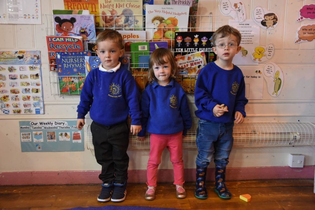 Brodick Early Years class welcomed three youngsters starting nursery.
