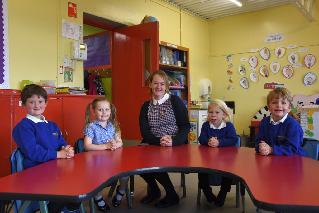 Mrs Jenni Nelson with her four new pupils at Shiskine Primary.