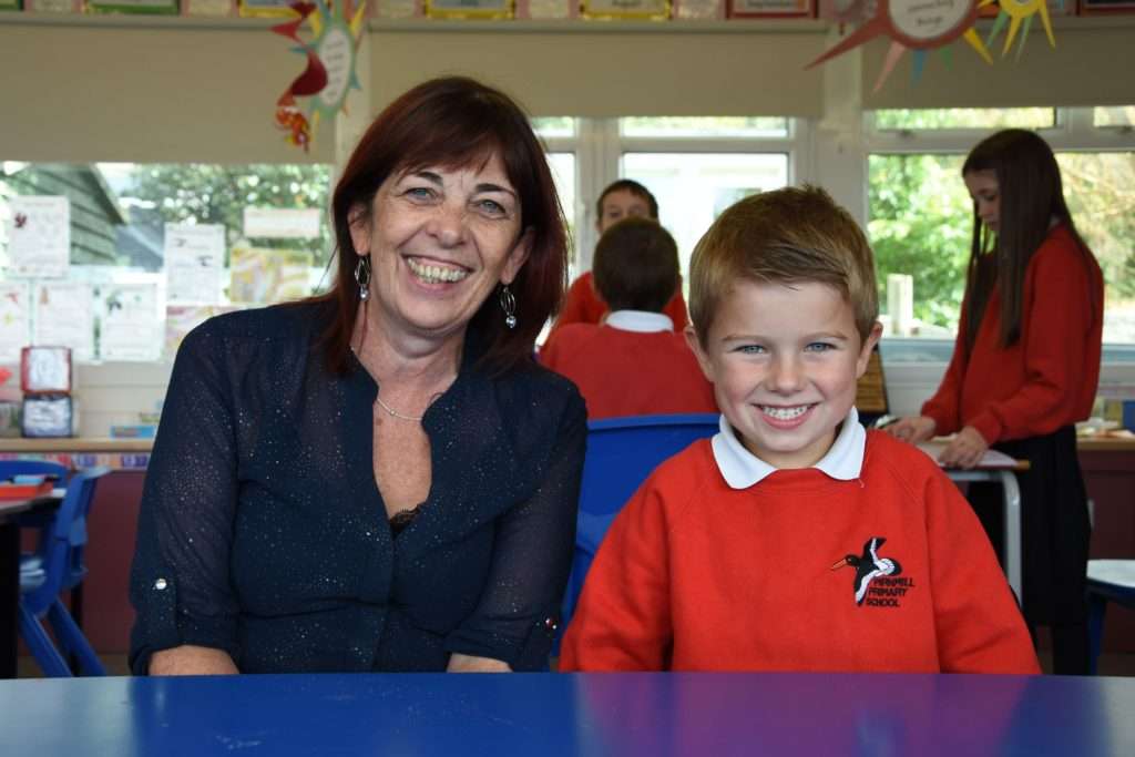 Ms Marie Gray with her single new pupil at Pirnmill Primary.