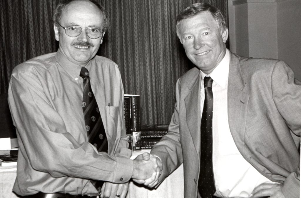 Howard Driver meets his hero, Sir Alex Ferguson, at the launch of his autobiography at the Hilton Hotel in Glasgow.