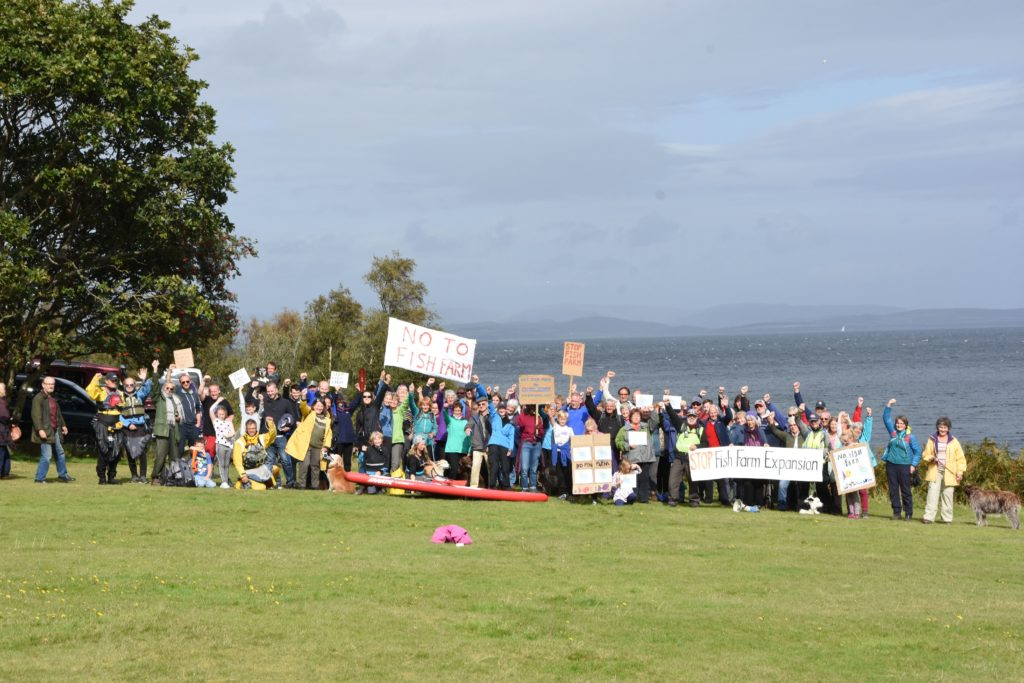More than 200 protestors gathered at the North Sannox car park prior to visiting the proposed site.