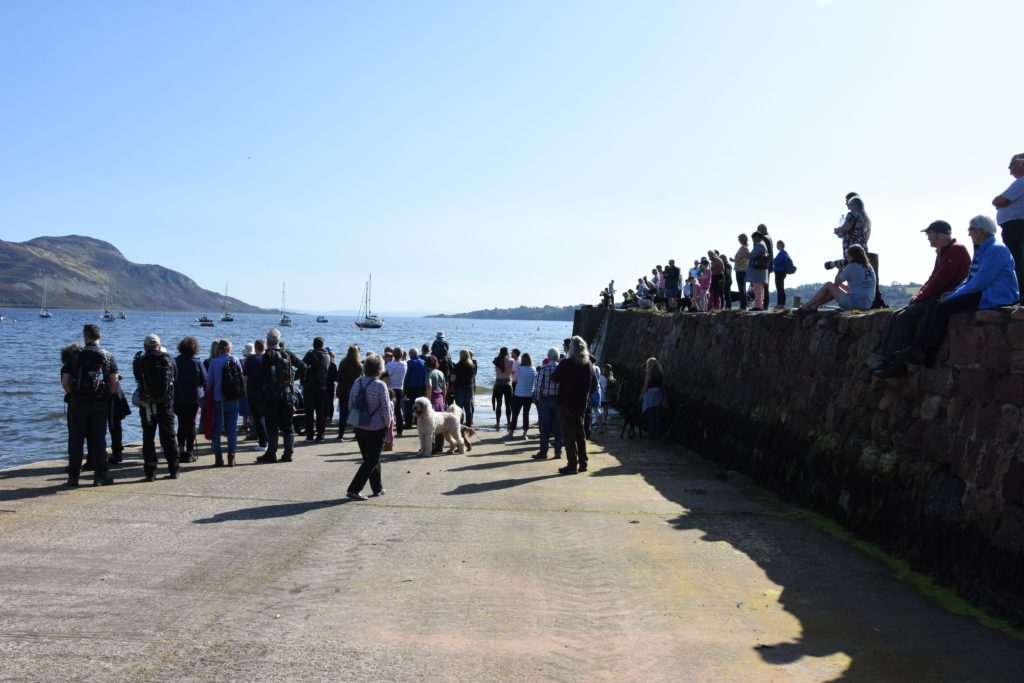 A large crowd of supporters line the pier and jetty to welcome the swimmers back.