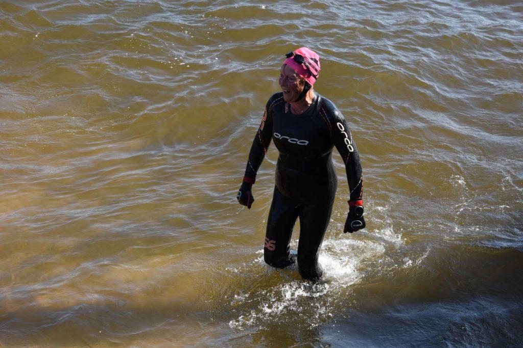 Organiser Ann Hart completes her 10th Splash.