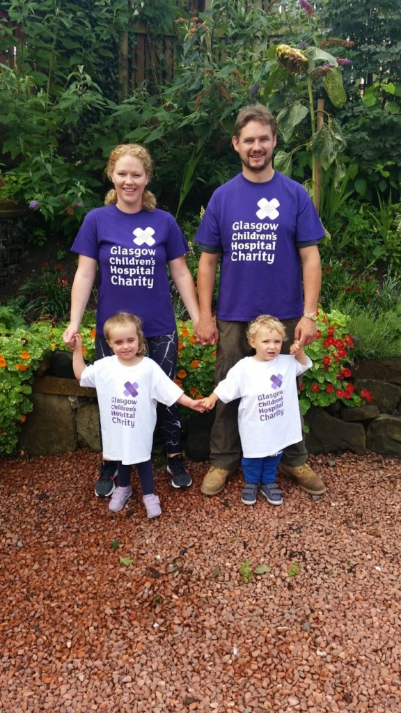Mum Kirsten, dad Jamie with Maisie and Jack raising money for the Glasgow Children's Hospital Charity.