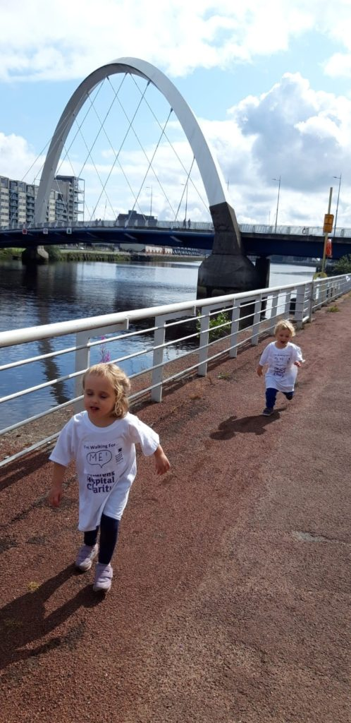 Maisie and Jack run along the Clyde during the event.
