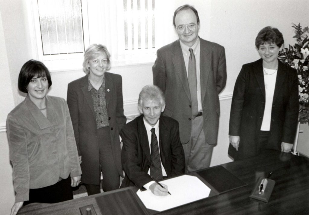 John Randall, seated, the Registrar General for Scotland, and Gerry McCarthy the Registrar General's Examiner, met with the official record keepers of Arran, left Jane Kelso and Susan Barr, far right, with Sandra McGregor, North Ayrshire's head registrar.