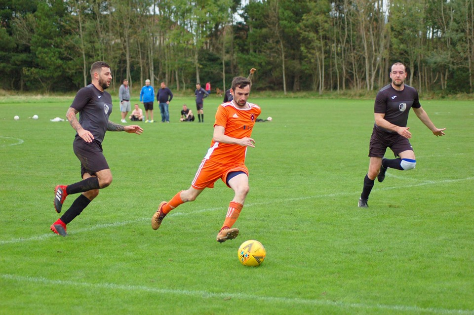 Prolific goalscorer Archie McNicol works his way towards the goals.